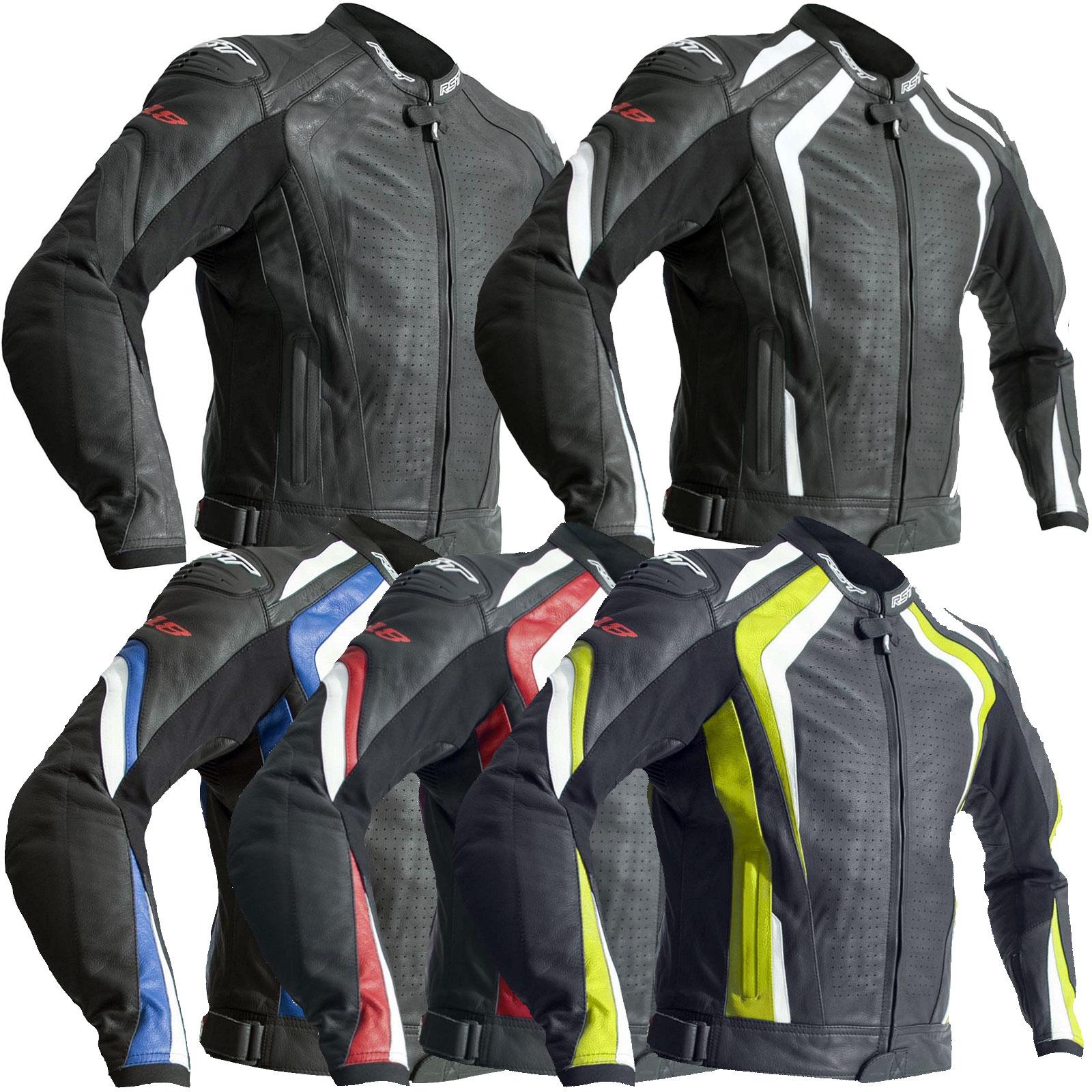 Odzież i ochraniacze RST R-18 2069 Leather Motorcycle Jacket Black CE Approved Motoryzacja: Części