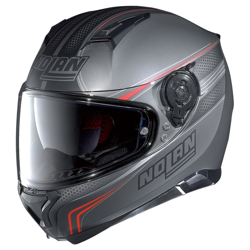nolan n87 rapid flat lava grey red full face helmet m p direct. Black Bedroom Furniture Sets. Home Design Ideas