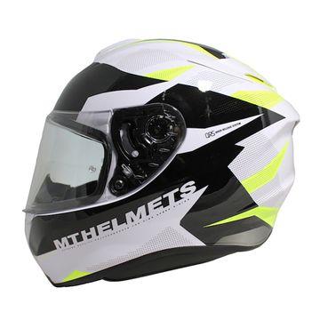 MT Targo Enjoy White Black Fluo Yellow Full Face Helmet image 1