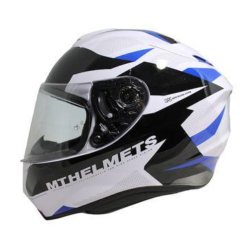 MT Targo Enjoy White Black Blue Full Face Helmet image 1