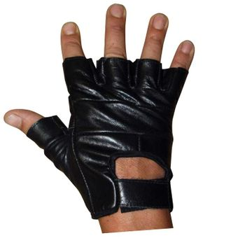 Classic Fingerless Leather Gloves image 1