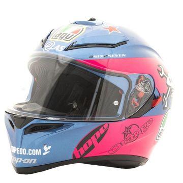 ab06abbd AGV K3 SV Guy Martin Pink Blue Full Face Helmet | M&P Direct